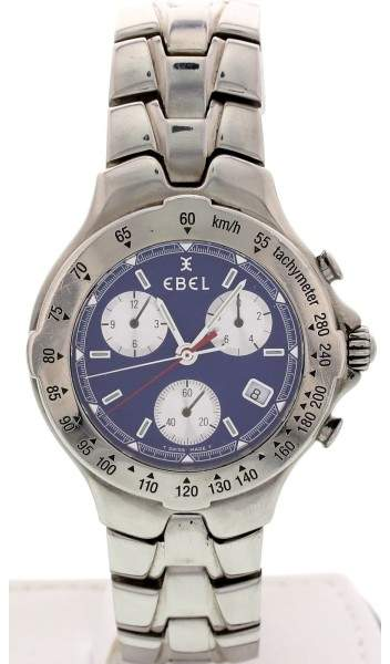 Ebel E9251641 Stainless Steel Sportwave Blue Chronograph Watch