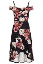 Quiz Black Wine And Stone Floral Print Dip Hem Dress