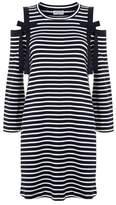 Claudie Pierlot Striped Cold-Shoulder Mini Dress