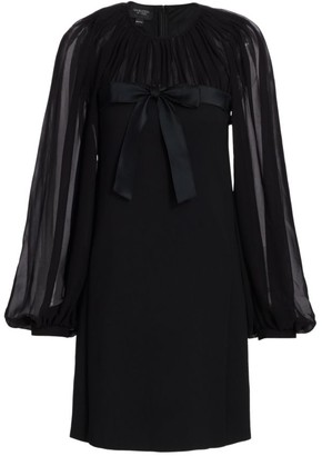 Giambattista Valli Bow Front Sheer-Sleeve Mini Dress