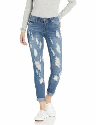 Dollhouse Women's Destructed Med Wash Skinny Jean with Roll Cuff