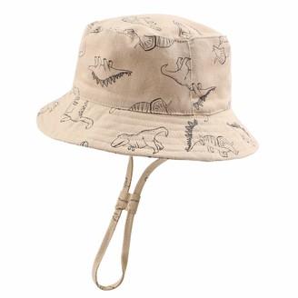 XIAOHAWANG Baby Boy Sun Hat Infant Toddler Dinosaur Bucket Hats Summer Baby Boys Beach Caps (Khaki Dinosaur 46cm)