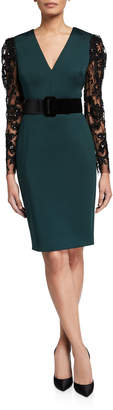 Badgley Mischka V-Neck Lace-Sleeve Belted Scuba Combo Dress