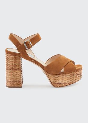 Prada Basket-Heel Suede Platform Crisscross Sandals