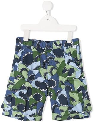 Il Gufo Shark Print Shorts