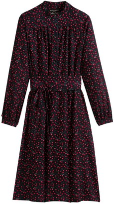Vanessa Seward X La Redoute Collections Cotton Mix Midi Shirt Dress in Cherry Print with Tie-Waist