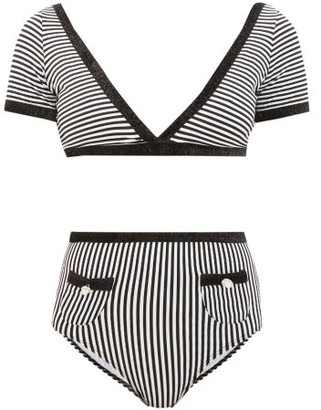 Leslie Amon Marylou Glitter-trim Striped Bikini - Womens - Black Stripe