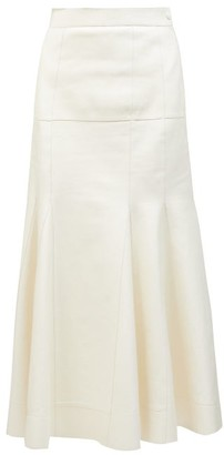Loewe Dropped-waist Godet-insert Leather Skirt - White