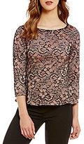 Ivanka Trump Floral Lace Overlay Matte Jersey Peplum Hem Top