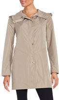 Ellen Tracy Petite Hooded Snap-Button Mid Length Lightweight Coat
