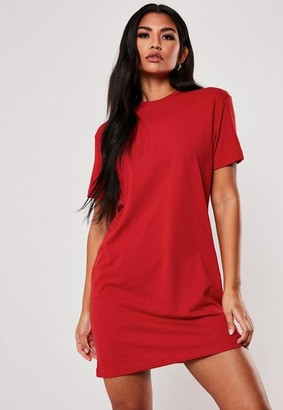 Missguided Red Basic T-Shirt Dress