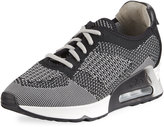 Ash Lucky Leather-Trim Knit Sneaker, Gray/Multi