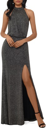 Xscape Evenings Halter Neck Metallic Knit Evening Gown