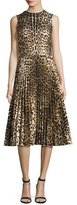 RED Valentino Sleeveless Leopard-Print Pleated Dress, Nero