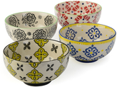 Signature Housewares Yellow & Navy Geometric Floral 6'' Bowl - Set of Four