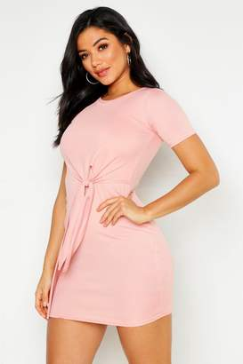 boohoo Knot Front Long Sleeve Shift Dress
