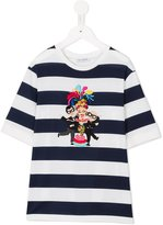Dolce & Gabbana striped Family Patch T-shirt - kids - Cotton/Polyamide/Polyester/Virgin Wool - 8 yrs
