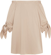 Tibi Off-the-shoulder Cotton-crepe Mini Dress - Beige