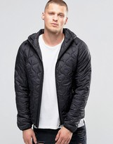 Blend of America Hooded Quilted Jacket Camo Black