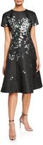 Rickie Freeman For Teri Jon Metallic Floral Embroidered Short-Sleeve A-Line Dress