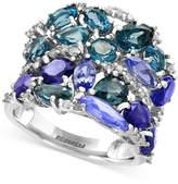 Effy Blue Topaz (3-1/10 ct. t.w.), Iolite (2-1/2 ct. t.w.) and Tanzanite (2-1/10 ct. t.w.) Ring in 14k White Gold