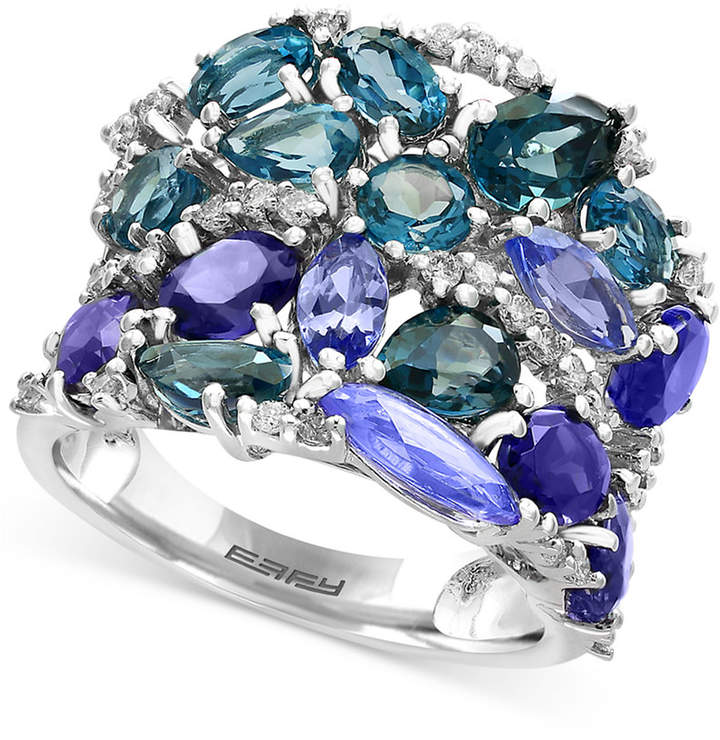 Effy Blue Topaz (3-1/10 ct. t.w.), Iolite (2-1/2 ct. t.w.) and Tanzanite (2-1/10 ct. t.w.) Ring in 14k White Gold