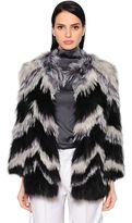 Yves Salomon Chevron Fox Fur Jacket