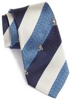 Psycho Bunny Men's Wide Stripe Silk Tie