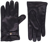 Barneys New York MEN'S SNAP-TAB LEATHER GLOVES-BLACK SIZE 8.5