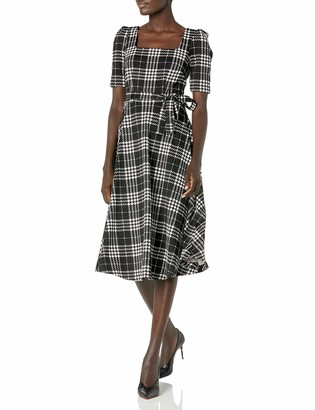 Taylor Dresses Women's Square Neck Elbow Sleeve Plaid Midi Fit and Flare Knit Dress