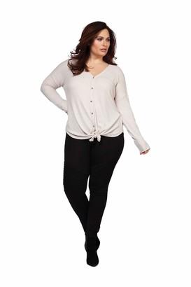 Dex Plus women's 1674002 DP Long Sleeve V Neck Button Down Top