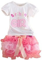 Donalworld Kids Baby Girls Birthday T-short Lace Dress Suit Outfit 2Pcs Set