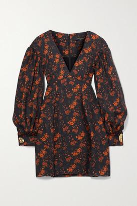 Mother of Pearl + Net Sustain Heidi Floral-print Tencel Lyocell-jacquard Mini Dress - Black