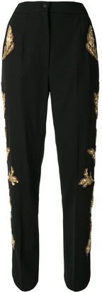 Dolce & Gabbana Sequin-Embellished High-Waisted Trousers