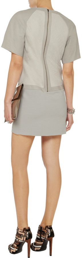 Helmut Lang Washed-leather, jacquard and ponte dress