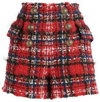 Balmain Tartan Tweed Shorts