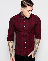 Asos Skinny Shirt in Faded Check with Long sleeves