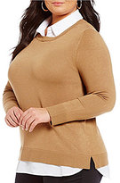 Intro Plus Point Collar With Shirttail Hem Solid Sweater