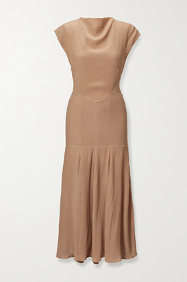 TOVE Elodie Open-back Silk-crepon Midi Dress - Beige