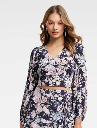 Forever New Tilda Petite Wrap Co-Ord Top - High Tea Floral - 4
