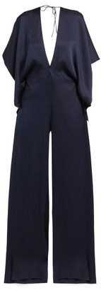 Roland Mouret Auclair Wide-leg Hammered-silk Jumpsuit - Navy