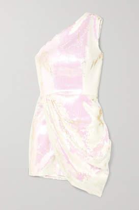 Alex Perry Kea One-shoulder Sequined Satin Mini Dress