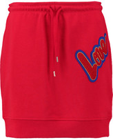 Love Moschino Appliquéd Stretch-Cotton Mini Skirt