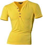 jeansian Men's Slim Fit Short Sleeves Casual Henleys Shirts D204 L