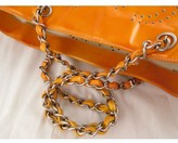 Chanel very good (VG Orange Perforated CC Patent Leather GST Grand Shopper Tote Bag + Pouch