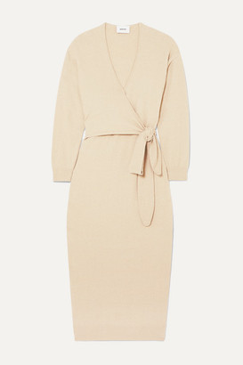 Nanushka Annika Stretch Cotton-blend Terry Wrap Dress - Beige