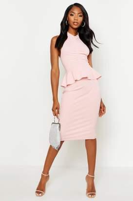 boohoo High Neck Ruched Peplum Midi Dress