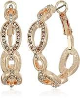 T Tahari Frozen Link Hoop Earrings