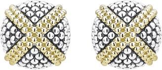 Lagos Signature Caviar Large Domed 'X' Stud Earrings