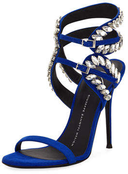 Giuseppe Zanotti High Dressy Suede Sandal with Embellishment